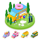Isometric Street Food Donuts Truck with People. Vector flat 3d illustration Stock Images