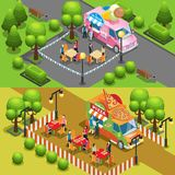 Isometric Street Food Horizontal Banners. With people buying snacks at ice cream and pizza trucks vector illustration Royalty Free Stock Image