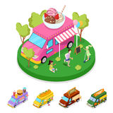 Isometric Street Food Ice Cream Truck with People. Vector flat 3d illustration Stock Photos