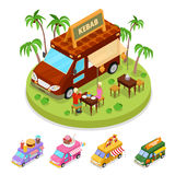 Isometric Street Food Kebab Truck with People. Vector flat 3d illustration Stock Image