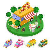 Isometric Street Food Pizza Truck with People. Vector flat 3d illustration Stock Photos