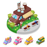 Isometric Street Food Truck Cafe with People. Vector flat 3d illustration Royalty Free Stock Photos