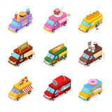 Isometric Street Food Truck Set with Vegeterian Food, Burger, Kebab, Hot Dog and Ice Cream Cafe Stock Image