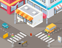 Isometric street or vector 3d road illustration Royalty Free Stock Images