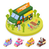 Isometric Street Vegeterian Food Truck with People. Vector flat 3d illustration Royalty Free Stock Photos