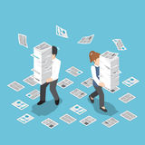 Isometric stresująca biznesmena mienia sterta papier royalty ilustracja