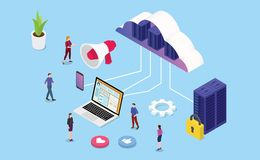 Isometric strona internetowa lub gości usługi biznesowej drużynowymi ludźmi i serweru komputerem - wektor ilustracji