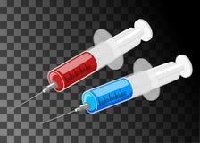 Isometric strzykawka z opadowym czerwonym krwionośnym cieczem odizolowywającym Fotografia Stock