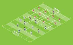 Isometric Style Football / Soccer Tactic Table. Field With Game Scheme. Vector Illustration Stock Image