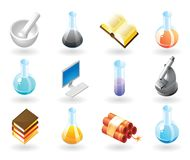 Isometric-style icons for chemistry Stock Photo