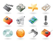 Isometric-style icons for entertainment. High detailed realistic  icons for entertainment Stock Images