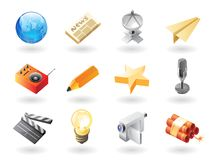 Isometric-style icons for mass media Stock Images