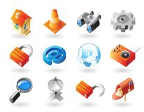 Isometric-style icons for website Royalty Free Stock Photography