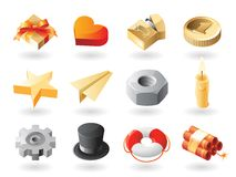 Isometric-style miscellaneous icons Royalty Free Stock Photography