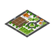 Isometric suburban ecological. Landscaping farm top view with streets, houses, fields, gardens Stock Photography