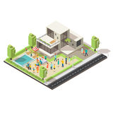 Isometric Suburban Villa Party Concept Stock Images