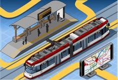 Isometric Subway Near Platform Roof and Underground Map Royalty Free Stock Photos