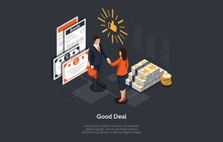 Free Isometric Successful Deal Concept. People Are Shaking Hands In Agreement After The Deal On The Securities And Stacks Of Stock Image - 170966111