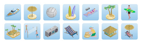 Isometric Summer Beach Vacation Icons Set Stock Photo