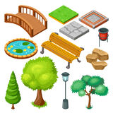 Isometric Summer Park Landscape Elements Set Stock Images