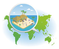 Isometric Summer Vacation Template Royalty Free Stock Photo