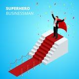 Isometric Super bohatera biznesmen na podium z czerwonym chodnikiem Fotografia Stock