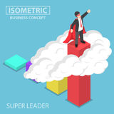 Isometric super businessman standing on the top of the graph. Flat 3d isometric super businessman standing on the top of the graph over the cloud, business Stock Photography
