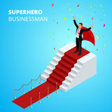 Isometric Super Hero Businessman on the Podium with red carpet  Stock Photography
