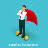 Isometric Superhero concept. Handsome Businessman in a suit superhero. Riding to work on Self balancing electric scooter. Vector illustration in flat style Stock Photography