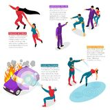 Super Hero Isometric Infographics. Isometric superhero infographics set of image compositions with human characters and editable text captions with description Royalty Free Stock Image