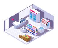 Isometric supermarket interior. 3d grocery store with food products royalty free illustration