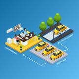 Isometric Support Taxi Service Concept. With operators received calls from clients and cars for transportation isolated vector illustration vector illustration