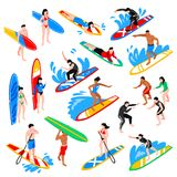 Isometric Surf Set. Surfing isometric icons set with coach training young people to riding on surfboard isolated vector illustration vector illustration
