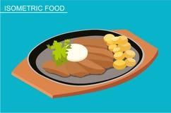 Isometric sushi set. Japanese seafood vector. Flat illustration. Stock Photography