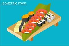 Isometric sushi set. Japanese seafood vector. Flat illustration. Stock Image