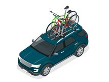 Isometric suv car with two bicycles mounted on the roof rack. Flat style vector illustration isolated on white. Background stock illustration
