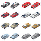 Isometric SUVs, pickup trucks, and service vehicles of police or fire brigade set icon Royalty Free Stock Image