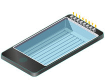 Isometric swimming pool in mobile phone. Stock Photography