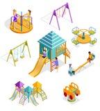 Isometric Swinging Kids Icon Set Royalty Free Stock Image