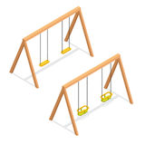 Isometric swings for kids and toddlers. Playground element vector icon Stock Image