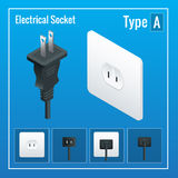 Isometric Switches and sockets set. Type A. AC power sockets realistic illustration. Stock Photo