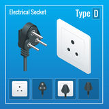 Isometric Switches and sockets set. Type D. AC power sockets realistic illustration. Stock Photo