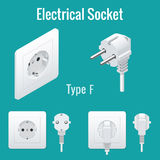 Isometric Switches and sockets set. Type F. Realistic vector illustration. Royalty Free Stock Images
