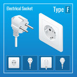 Isometric Switches and sockets set. Type F. Realistic vector illustration. Stock Photography