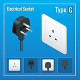 Isometric Switches and sockets set. Type G. AC power sockets realistic illustration.  Royalty Free Stock Photography