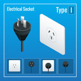 Isometric Switches and sockets set. Type I. AC power sockets realistic illustration Stock Photos