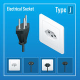 Isometric Switches and sockets set. Type J. AC power sockets realistic illustration.  Royalty Free Stock Photos