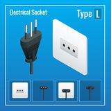 Isometric Switches and sockets set. Type L. AC power sockets realistic illustration.  Stock Photo