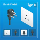 Isometric Switches and sockets set. Type M. AC power sockets realistic illustration. Royalty Free Stock Photos