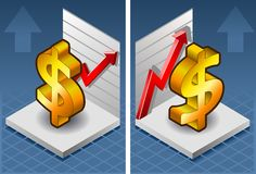 Isometric symbol of dollar. With red arrow up exchange Royalty Free Stock Photography